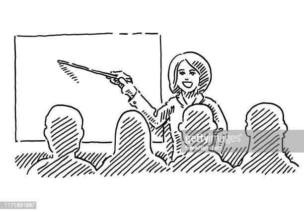 weibliche lehrer erwachsenen weiterbildung zeichnung - klassenzimmer stock-grafiken, -clipart, -cartoons und -symbole