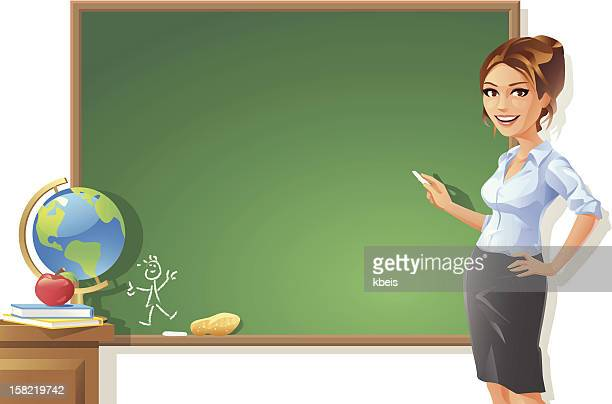 female teacher at blackboard - instructor stock illustrations