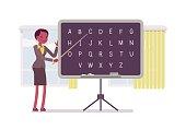Female teacher is teaching alphabet
