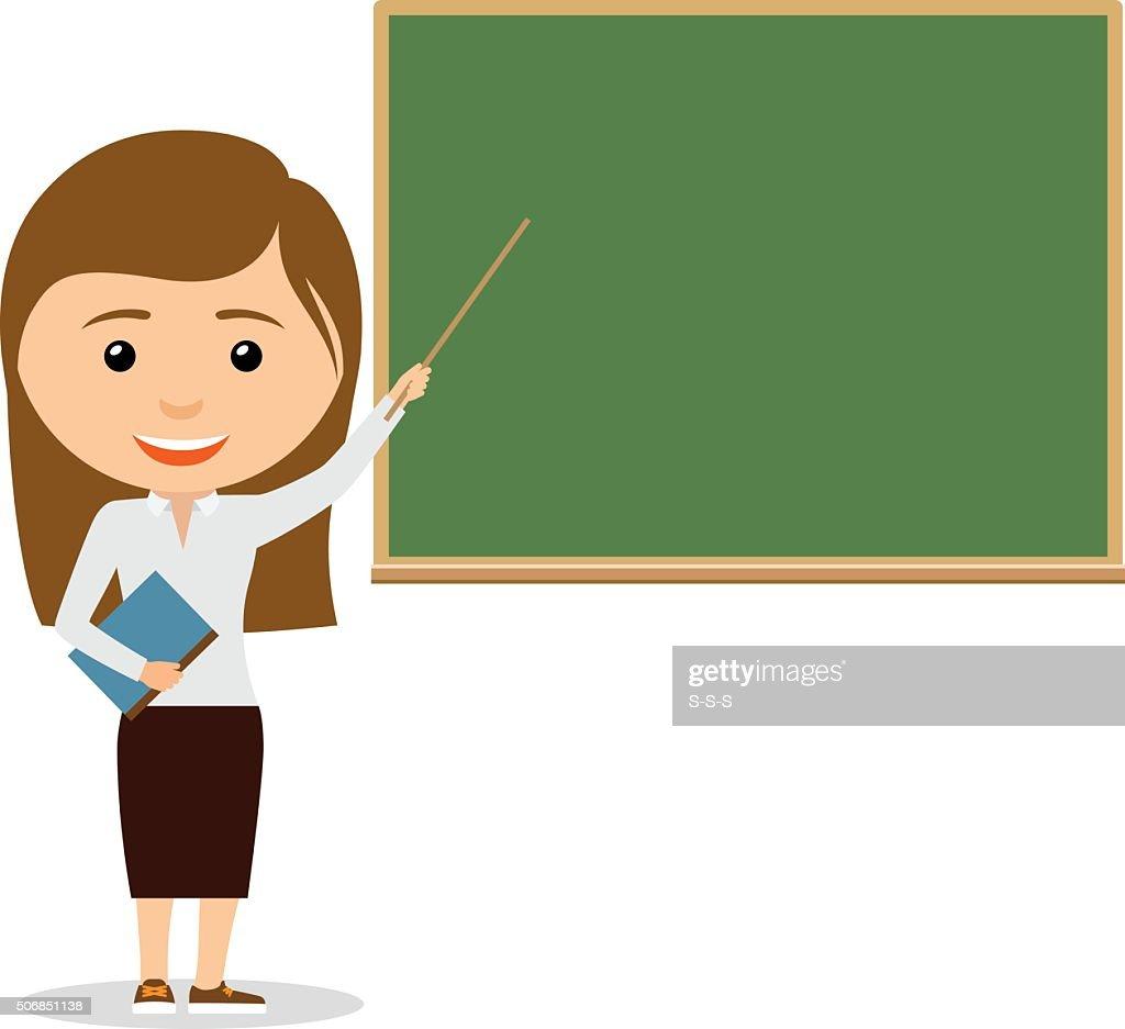 Female teacher on lesson at the chalkboard