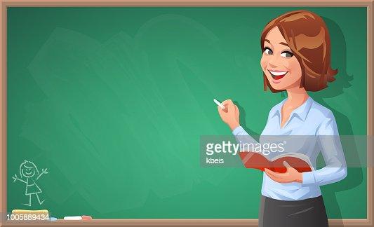 Female Teacher Writing On Blackboard Vector Art | Getty Images