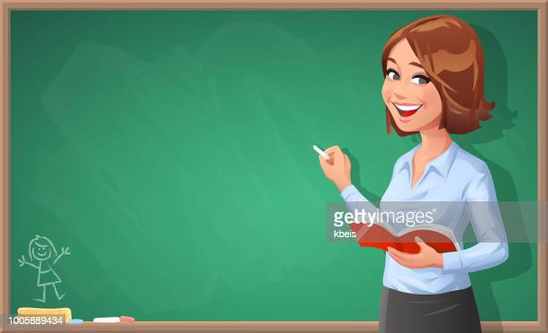 female teacher writing on blackboard - instructor stock illustrations