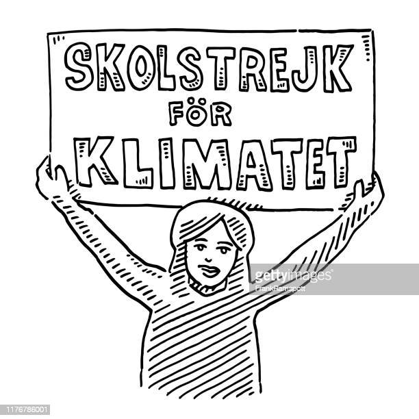 female teenager with sign school strike for climate drawing - striker stock illustrations