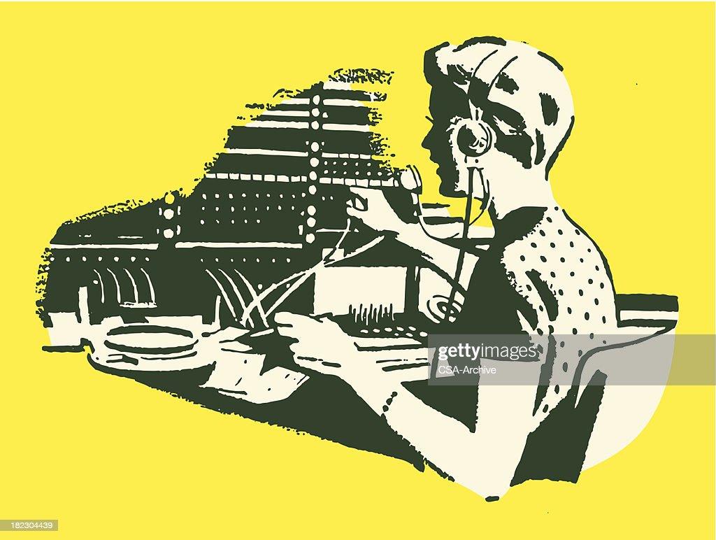 Female Telephone Operator : stock illustration