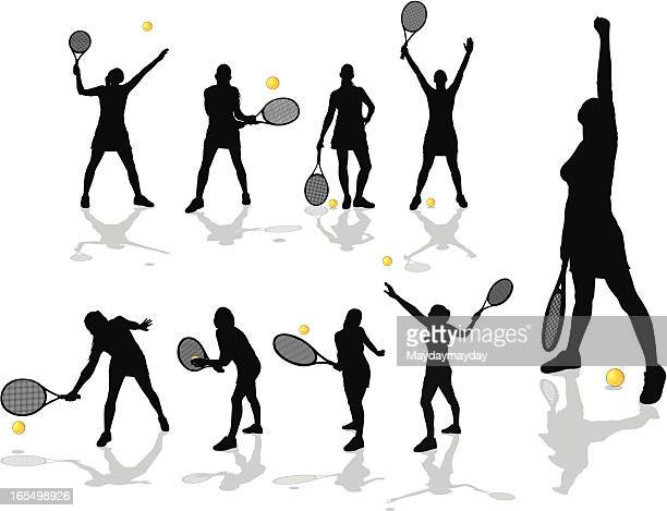 female tennis players - individual event stock illustrations