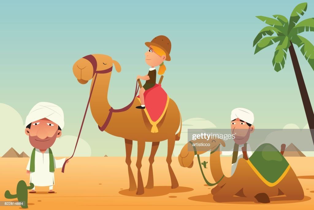 Female Tourist Riding a Camel in the Desert