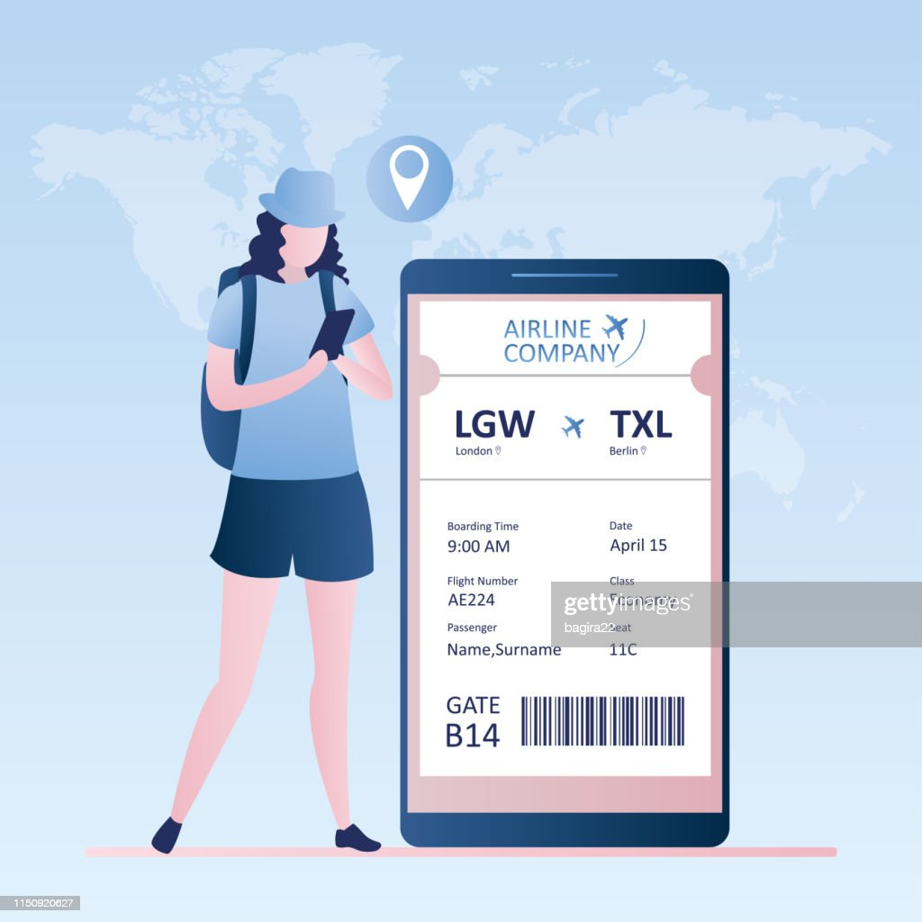 Female traveller with smartphone,online check-in,