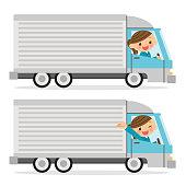 A female truck driver.