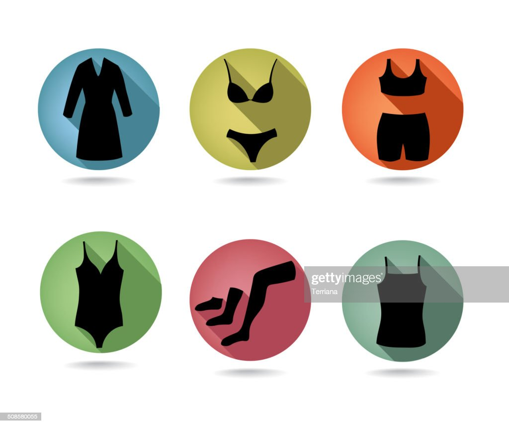 Female underwear set. Button collection. : Vector Art