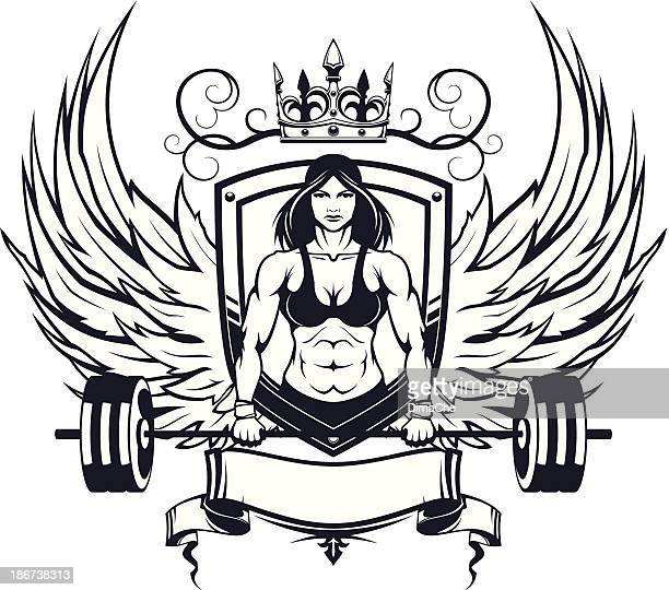 female weightlifter emblem - animal body part stock illustrations, clip art, cartoons, & icons
