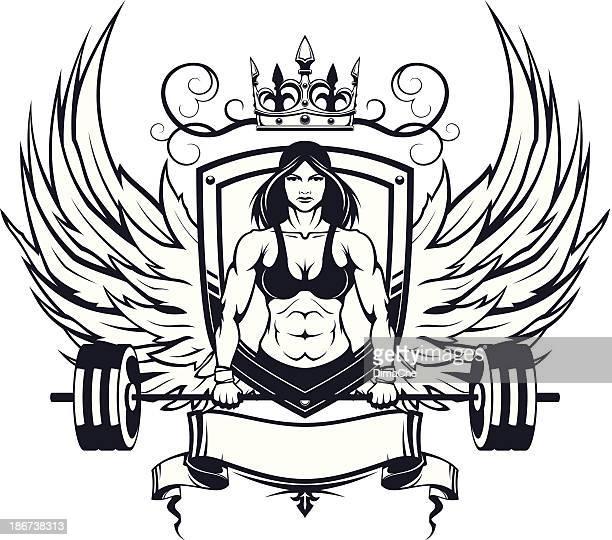 ilustraciones, imágenes clip art, dibujos animados e iconos de stock de emblema hembra levantador de pesas - parte del cuerpo animal