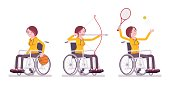Female young wheelchair user doing sport activity