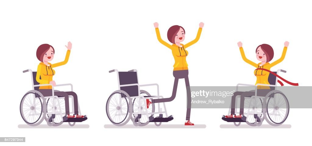 Female young wheelchair user in positive emotions
