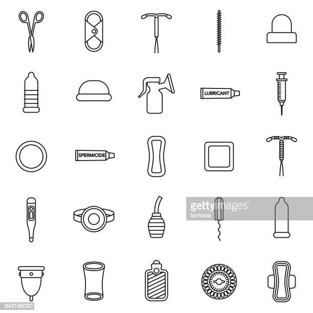 Feminine Care Thin Line Icon Set