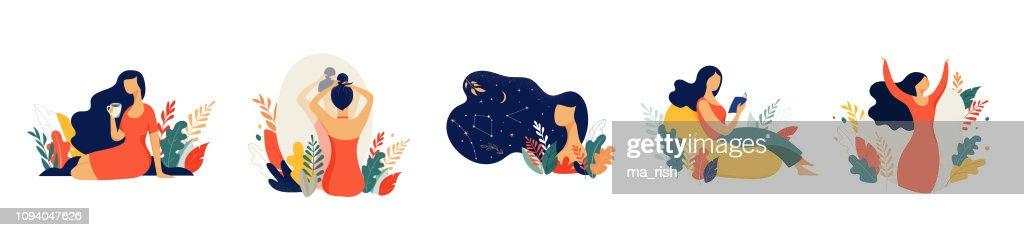 Feminine concept illustration, beautiful women in different situations. international women s day. Flat style vector design set stock vectors