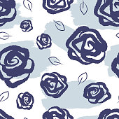 Feminine floral seamless pattern. Watercolor stains, roses and leaves drawn by hand. Grunge, sketch, graffiti, doodle.