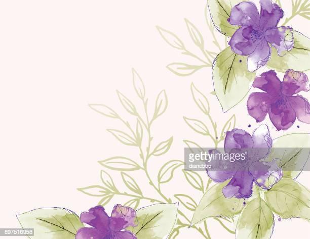 ilustraciones, imágenes clip art, dibujos animados e iconos de stock de fondo de flores acuarela femenino - flores