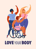 Feminism body positive cards, posters, banners, cover with love to own figure, female freedom girl power isolated vector illustration.