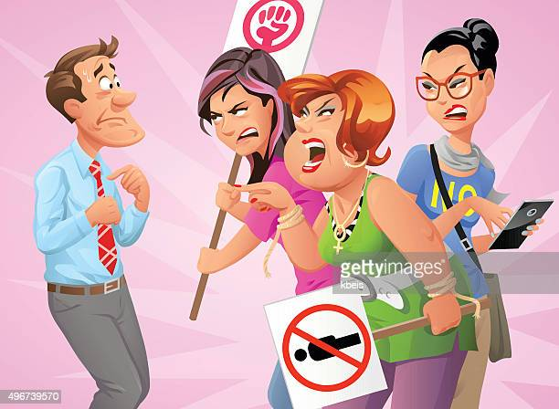 feminist protesters yelling at man - battle of the sexes concept stock illustrations
