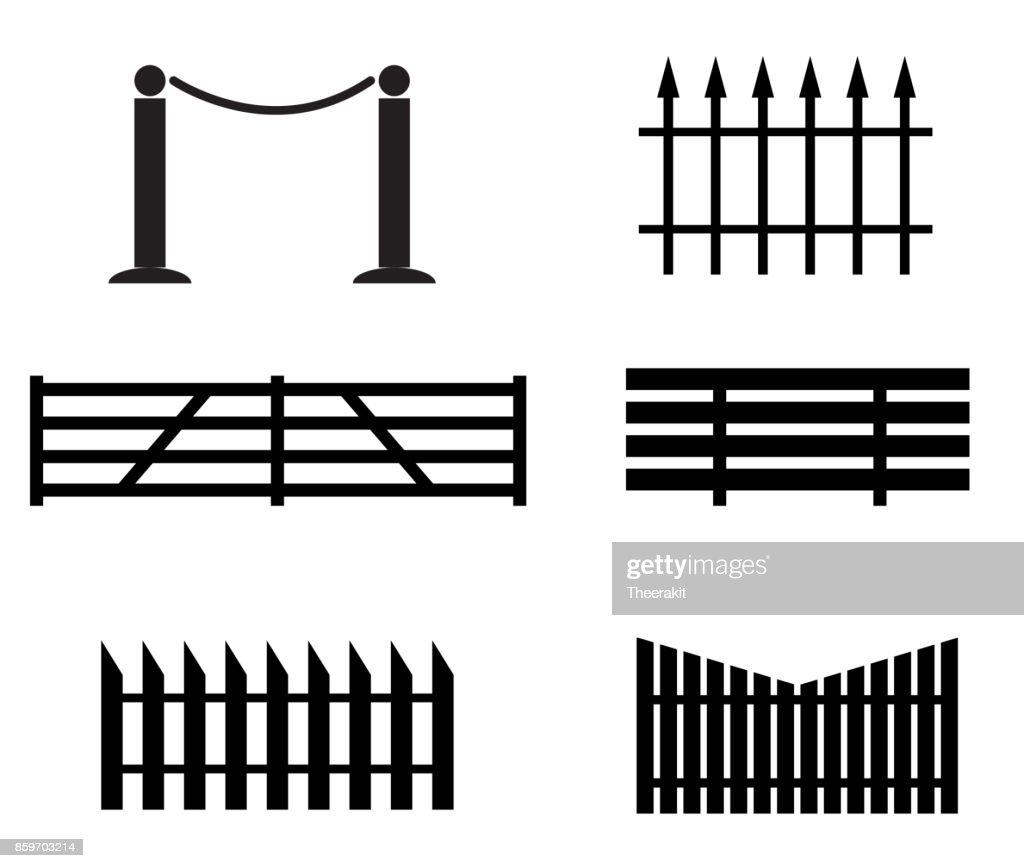 fence set icon on white background. black fence sign. flat style.