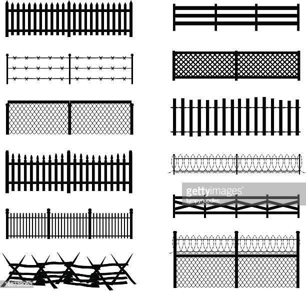 fence silhouettes - wire mesh fence stock illustrations