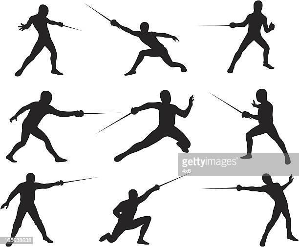 ilustrações de stock, clip art, desenhos animados e ícones de silhuetas de esgrima - luta de espadas