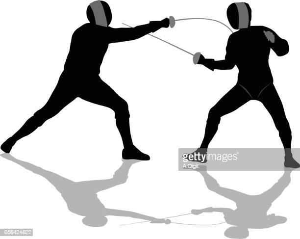 ilustrações de stock, clip art, desenhos animados e ícones de fencing touche - luta de espadas