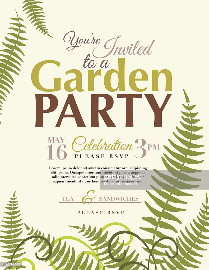 Ferns Garden Party Invitation Template Vector Art | Getty Images