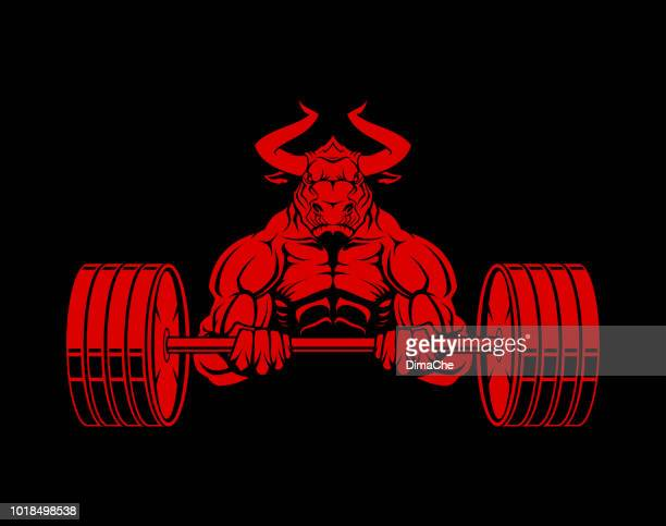 ferocious bull-powerlifter with barbell. muscular buffalo mascot. - male animal stock illustrations