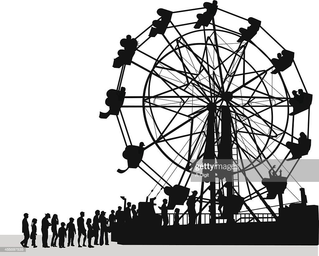 Ferris Crowd Vector Silhouette : stock illustration