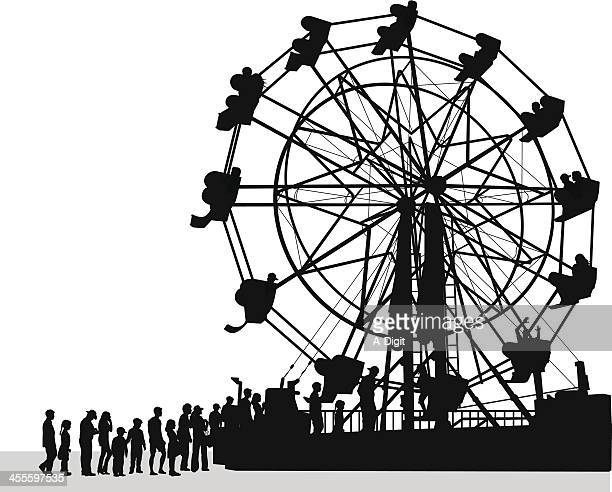 ferris crowd vector silhouette - ferris wheel stock illustrations, clip art, cartoons, & icons