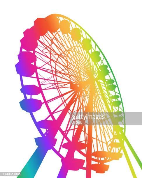 stockillustraties, clipart, cartoons en iconen met de regenboog van ferris - reuzenrad