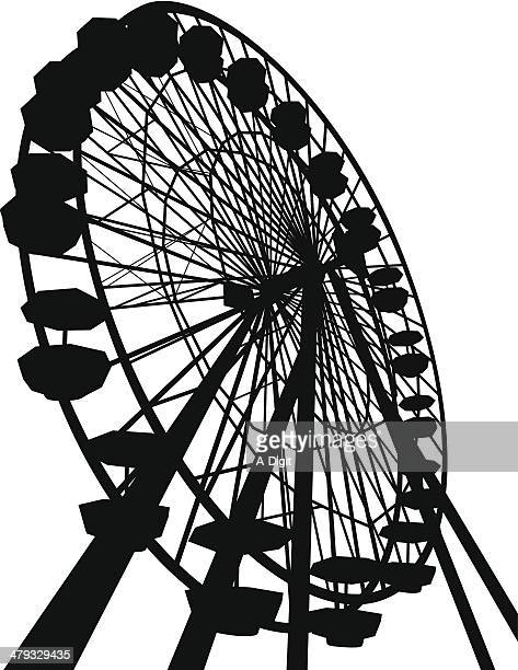 ferris vector silhouette - ferris wheel stock illustrations, clip art, cartoons, & icons