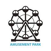 Ferris wheel, amusement park icon and symbol