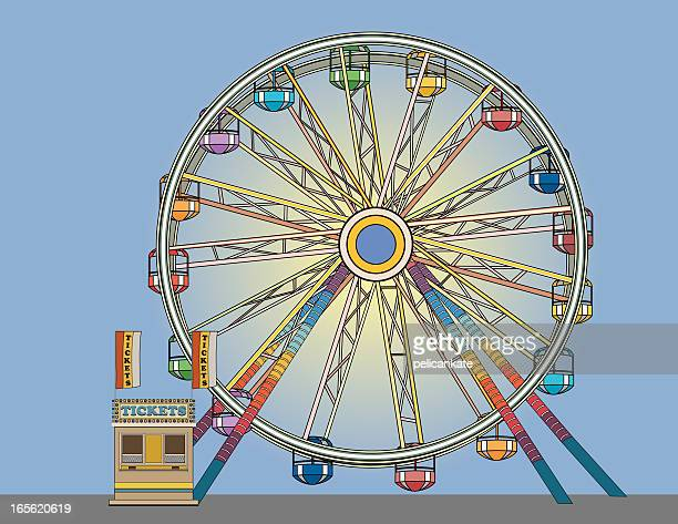 ferris wheel and ticket booth - ferris wheel stock illustrations, clip art, cartoons, & icons