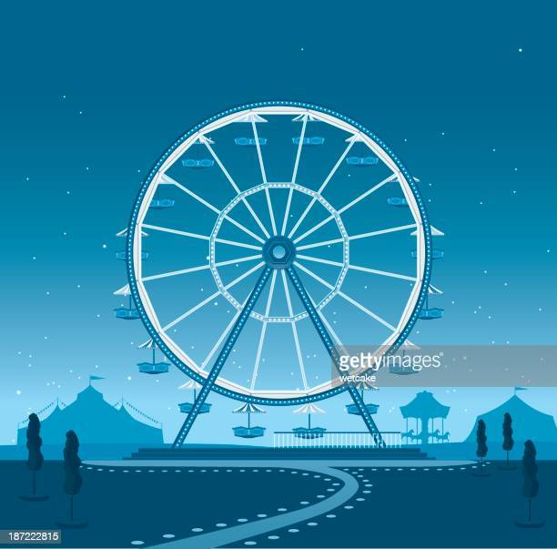 ferris wheel at night - ferris wheel stock illustrations, clip art, cartoons, & icons