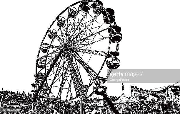 ferris wheel at state fair - ferris wheel stock illustrations, clip art, cartoons, & icons