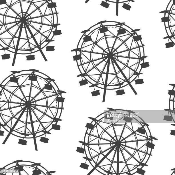 ferris wheel black and white seamless pattern background - ferris wheel stock illustrations, clip art, cartoons, & icons