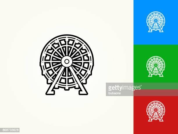 ferris wheel black stroke linear icon - ferris wheel stock illustrations, clip art, cartoons, & icons