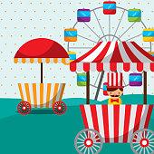 ferris wheel booth food sellerman carnival fun fair festival
