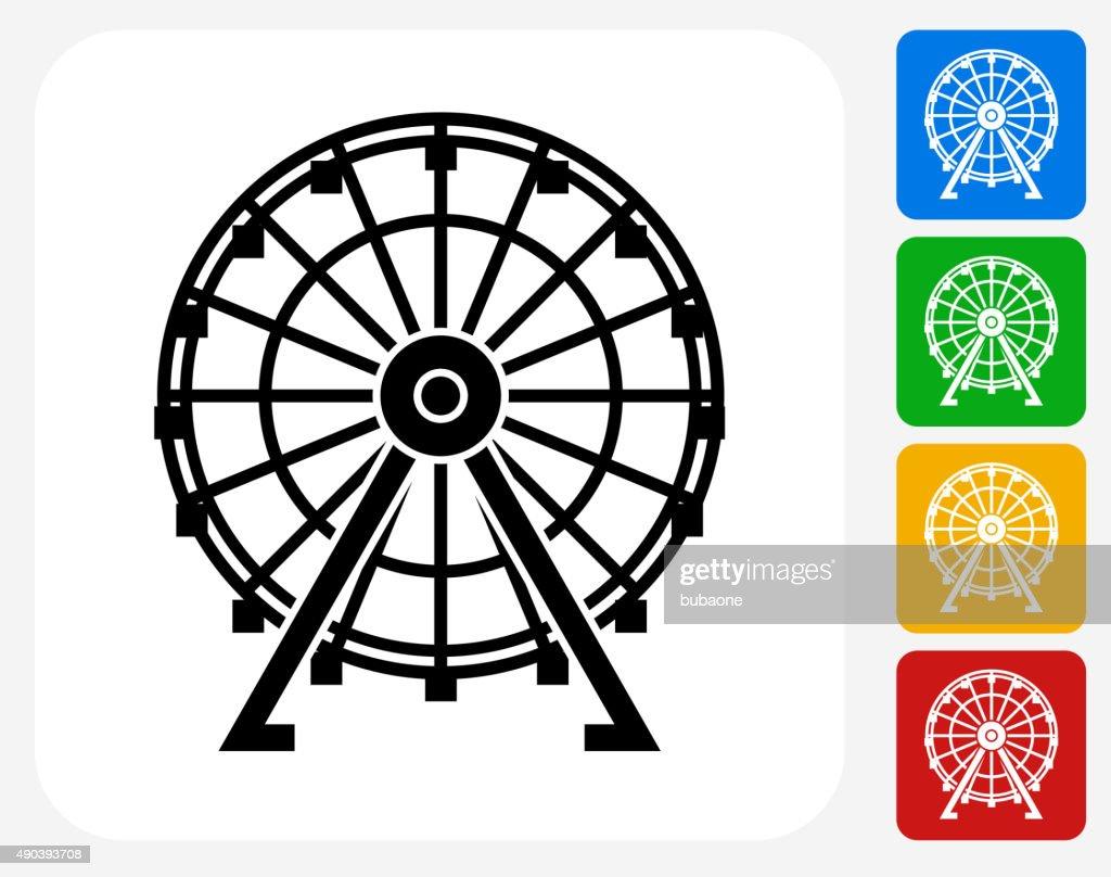 Ferris Wheel Icon Flat Graphic Design