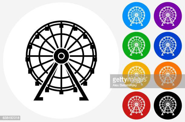 ferris wheel icon on flat color circle buttons - ferris wheel stock illustrations, clip art, cartoons, & icons
