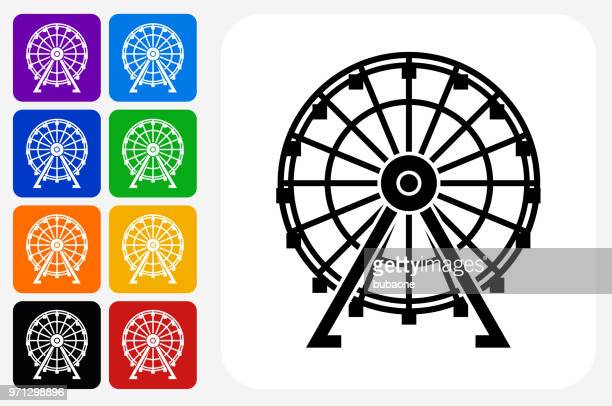 ferris wheel icon square button set - ferris wheel stock illustrations, clip art, cartoons, & icons