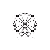 . Ferris wheel icon vector linear design isolated on white background. Park logo template, element for amusement park, line icon object