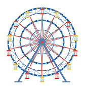 Ferris wheel in a flat style on an isolated background