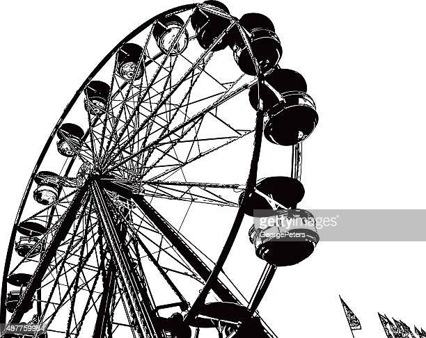 ferris wheel line art - ferris wheel stock illustrations, clip art, cartoons, & icons