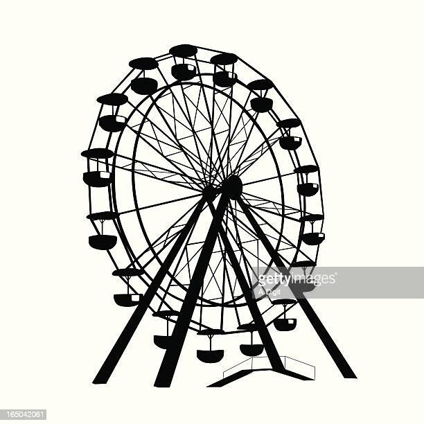 ferris wheel vector silhouette - ferris wheel stock illustrations, clip art, cartoons, & icons