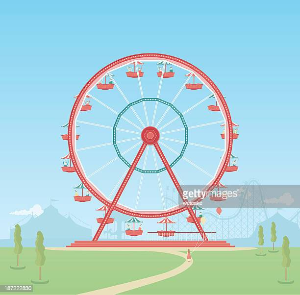 ferris wheel with riders and blue sky behind - ferris wheel stock illustrations, clip art, cartoons, & icons