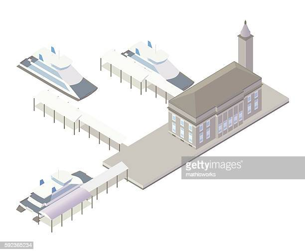ferry terminal building illustration - mathisworks architecture stock illustrations