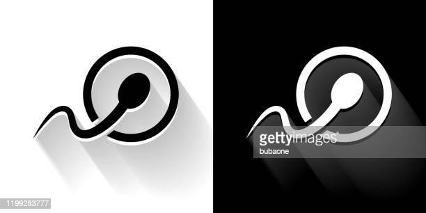 長い影の受精黒と白のアイコン - 繁殖力点のイラスト素材/クリップアート素材/マンガ素材/アイコン素材